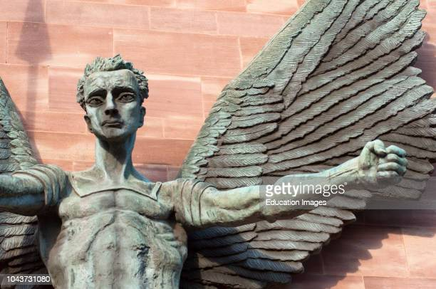 St Michaels Victory over the Devil sculpture by Sir Jacob Epstein at St Michaels or Coventry Cathedral England