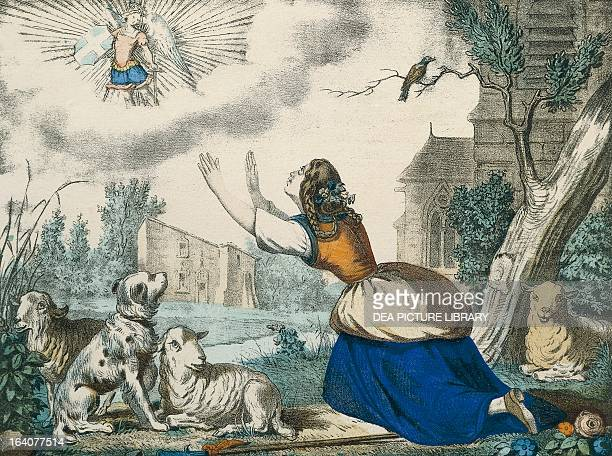 St Micheal appearing to Joan of Arc in front of her family home Engraving by Wentzel made in Wissembourg Alsace19th century DomremyLaPucelle Maison...