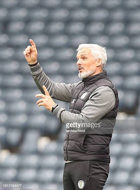 St Mirren manager Jim Goodwin gestures during the William Hill Scottish Cup match between St Mirren and St Johnstone at Hampden Park on May 09, 2021...