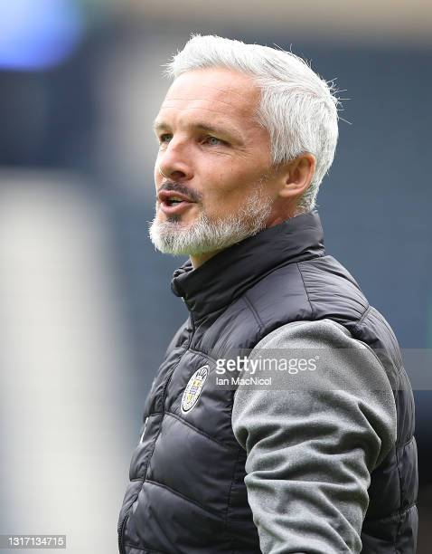 St Mirren manager Jim Goodwin is seen prior to the game during the William Hill Scottish Cup match between St Mirren and St Johnstone at Hampden Park...