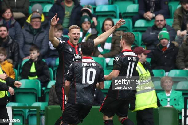 St Mirren's Harry Davis celebrates scoring his side's first goal of the game with teammates Stephen Mallan and Cammy Smith during the Active Nation...