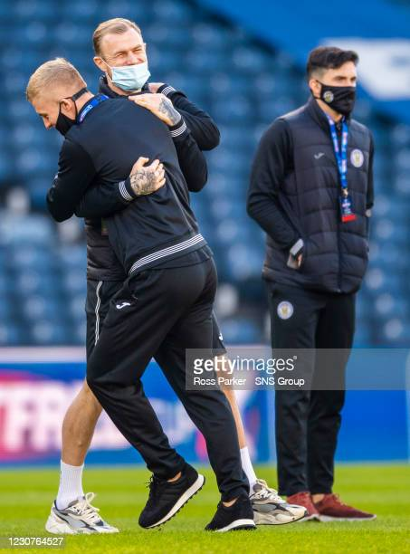 St Mirren's Richard Tait with Cammy MacPherson during a Betfred Cup semi-final between Livingston and St Mirren at Hampden Park, on January 23 in...