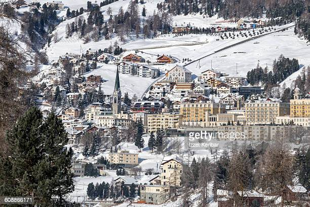 st moritz at winter, switzerland - saint moritz foto e immagini stock