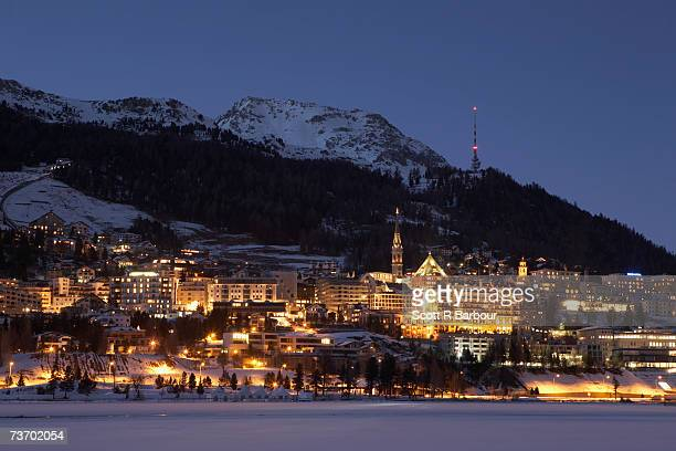 St Moritz, Engadine Valley, Switzerland at dusk in winter