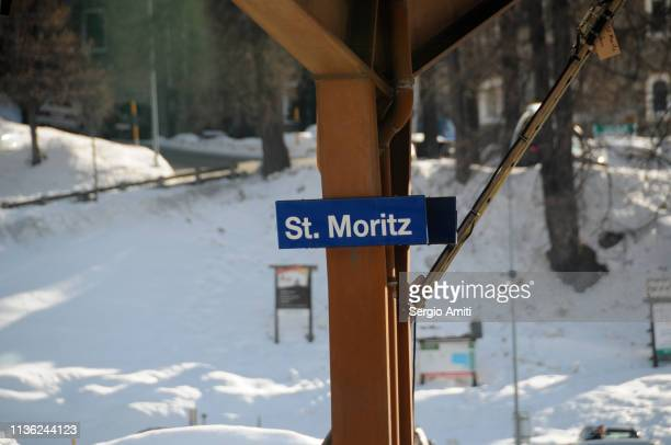 St Moritz sign at train station