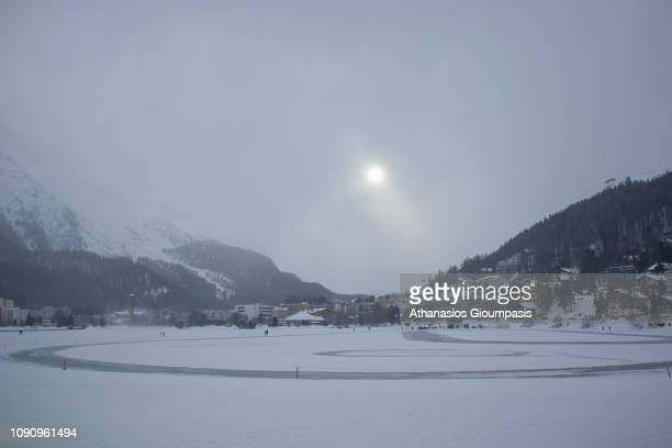St Moritz Village and Lake covered by snow in Winter on January 02 2019 in St Moritz Switzerland St Moritz is a luxury alpine holiday resort town in...