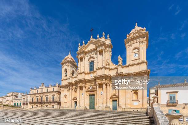 st nicholas cathedral, noto, siracusa province, sicily, italy, europe. - st. nicholas cathedral stock pictures, royalty-free photos & images