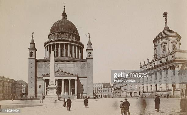 St Nicholas' Church and the obelisk on the Alter Markt or Old Market Square in Potsdam Germany 1875