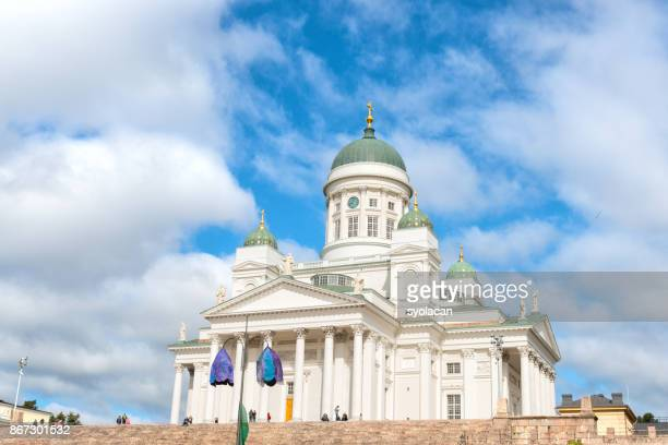 st. nicholas church at senate square in summer, helsinki - syolacan stock pictures, royalty-free photos & images