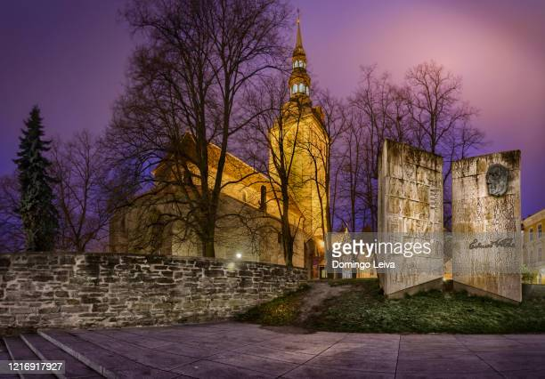 st. nicholas church illuminated at dusk, - st nicholas' church stock pictures, royalty-free photos & images
