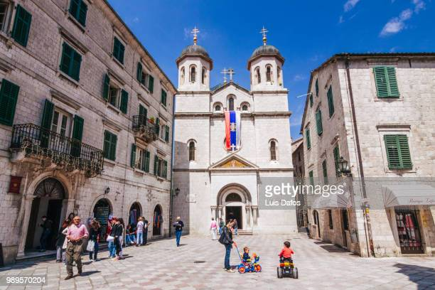 st. nicholas church in kotor old town - dafos stock photos and pictures