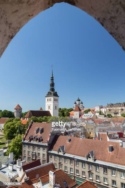 st. nicholas' church, st. alexander nevsky cathedral and other buildings at the old town in tallinn, estonia, viewed from above on a sunny day in the summer. - estonia fotografías e imágenes de stock