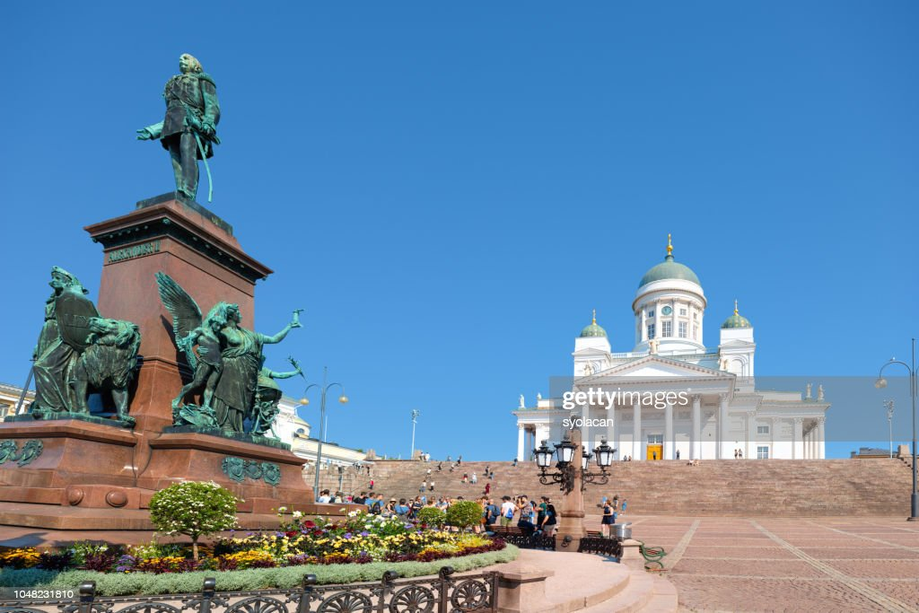 St. Nicholas Church with Monument Alexander II, Helsinki : Stock Photo