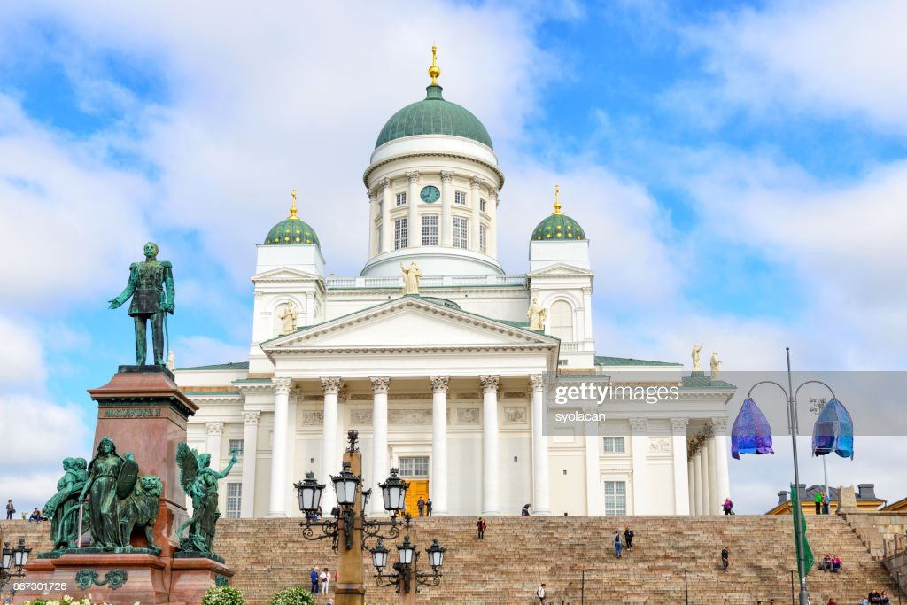 St. Nicholas Church with Monument Alexander II in Helsinki : Stock Photo