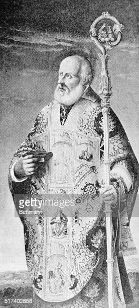 St Nicholas di Bari Three quarterlength standing figure of the haloed and bearded saint wearing a richly embroidered chasuble holding a crosier in...
