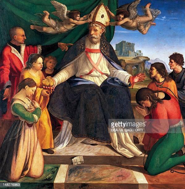 St Nicholas of Bari enthroned ca 1514 by Andrea Sabatini oil on canvas 146x146 cm Naples Museo Nazionale Di Capodimonte