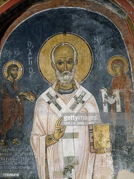 St Nicholas of Myra fresco Church of Ayios Nikolaos tis Steyis Troodos mountains Cyprus
