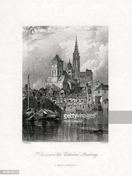 St Omer and the cathedral Strasbourg France 19th century The spire of the Cathedral of Notre Dame was built in 1439