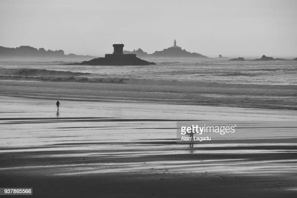 St Ouens Bay and Corbiere lighthouse, Jersey, U.K.