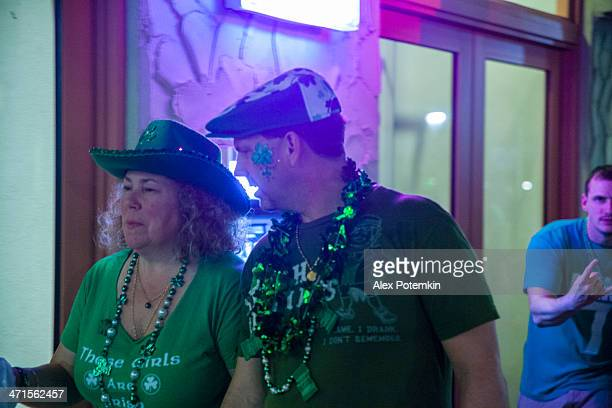 st. patrick day in key west - duval street stock pictures, royalty-free photos & images