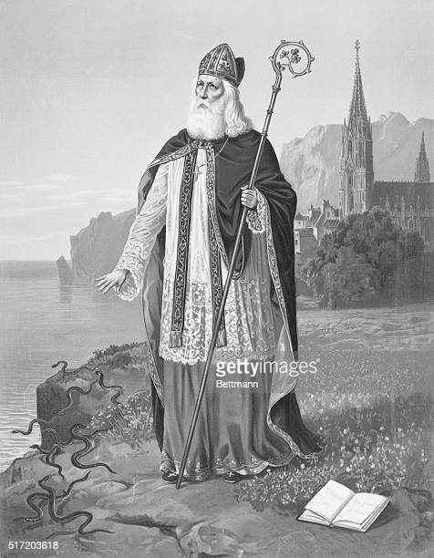 St Patrick Lithograph by Greil Undated illustration