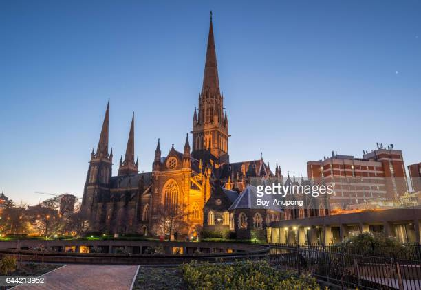 st patrick's cathedral the biggest church in melbourne, australia in the evening time. - catedral fotografías e imágenes de stock