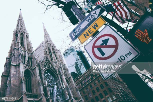 St. Patrick's Cathedral (Manhattan) with some traffic signs