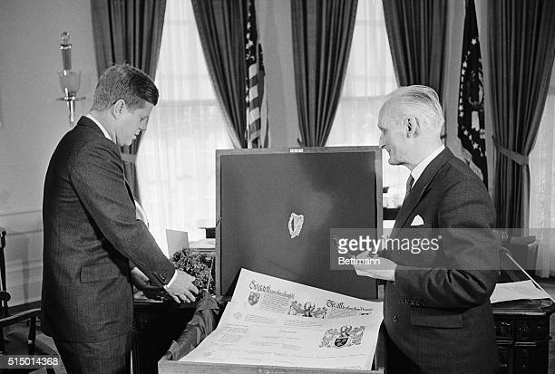 St Patrick's Day At The White House Washington President Kennedy starts off St Patrick's Day in appropriate fashion today by accepting a basket of...