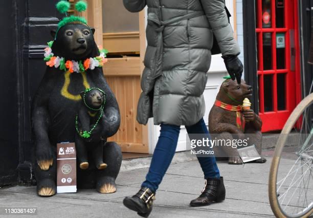 St Patrick's Day decorations outside Sun Bear Gelato ice cream shop in Dublin's city center On Wednesday March 13 in Dublin Ireland