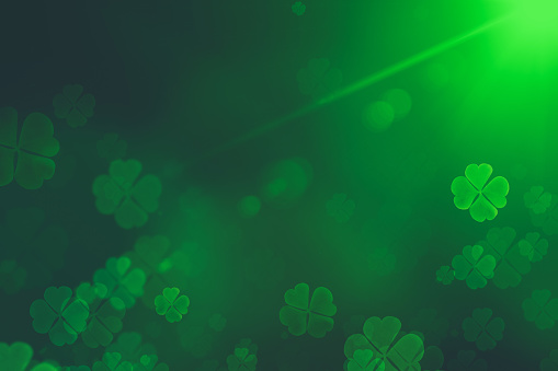 St. Patrick's Day green Shamrock Leaves background. Patrick's Day backdrop with growing clover leaf extreme close-up. Patrick Day pub party background 1138637974