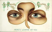 St patricks day greeting postcard shows a shamrock shape over two picture id80994213?s=170x170