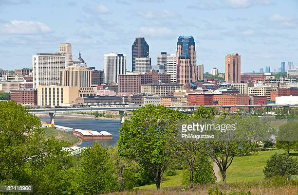 st. paul and mississippi river in minnesota - st. paul minnesota stock pictures, royalty-free photos & images