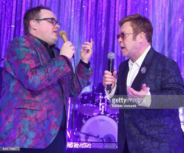 St Paul and The Broken Bones and Elton John perform onstage during Bulgari at the 25th Annual Elton John AIDS Foundation's Academy Awards Viewing...