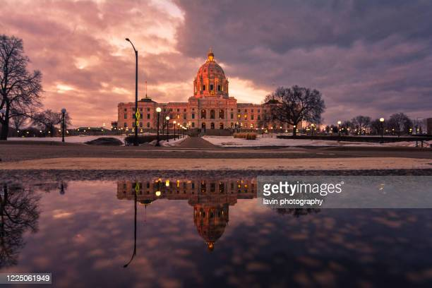 st paul capitol building reflection puddle - minnesota stock pictures, royalty-free photos & images