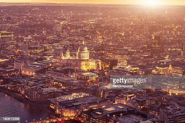 St. paul cathedral and river thames aerial view on night