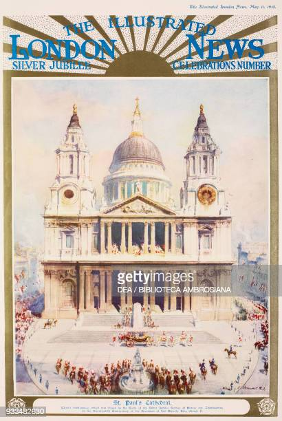 St Paul Cathedral, London, United Kingdom, drawing, King George V Silver Jubilee celebrations, from The Illustrated London News, May 11, 1935.