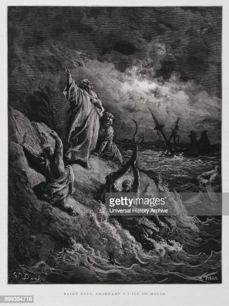 St Paul Landing at Malta Illustration from the Dore Bible 1866 In 1866 the French artist and illustrator Gustave Doré published a series of 241 wood...
