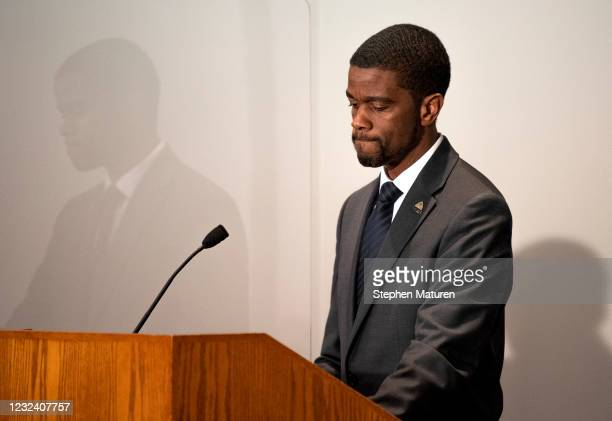 St. Paul Mayor Melvin Carter speaks at a press conference about public safety on April 19, 2021 in St. Paul, Minnesota. Closing statements were heard...
