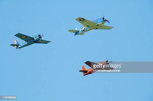 St Paul Minnesota Holman Field Formation of Grumman WWII Fighters F4f Wildcat F6F Hellcat F8F Bearcat at Commemorative Air Force Air Show