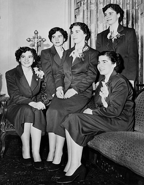 The Dionne quintuplets are from left to right Yvonne Annette Marie Cecile and Emilie They are in St Paul Minn for the winter carnival