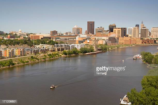 st. paul, minnesota urban skyline, downtown view from mississippi river - st. paul minnesota stock pictures, royalty-free photos & images
