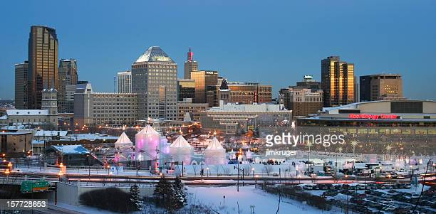 st. paul minnesota with winter carnival. - minnesota bildbanksfoton och bilder