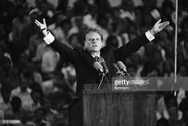 """St. Paul, MN: Evangelist Billy Graham preached the gospel 7/13 at the Upper Midwest Crusade in the opening of what he said may be one of his """"latter..."""