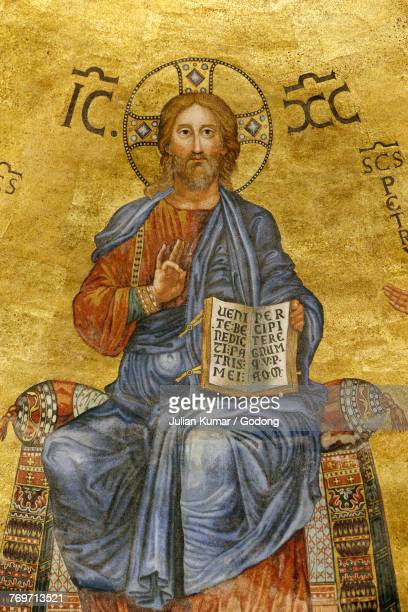 St. Paul outside the walls church, Rome. Detail of the chancel fresco. Italy.