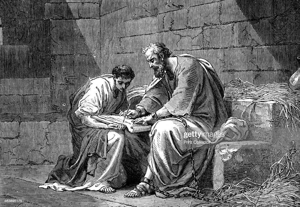 St Paul the Apostle in prison, writing his epistle to the Ephesians, 1st century AD (19th century). : News Photo