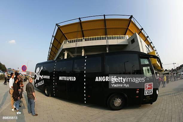 St. Pauli team bus arrives at the new Tivoli Stadium ahead of the second Bundesliga match between Alemannia Aachen and FC St. Pauli at Tivoli Stadium...