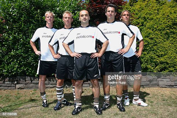 St Pauli's Timo Schultz Dennis Tornieporth Khvicha Shubitidze Thomas Meggle and Felix Lux pose before the training session on June 28 2005 in Hamburg...