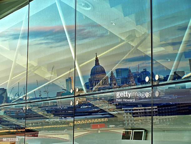 St. Paul's  and London reflected in a Window