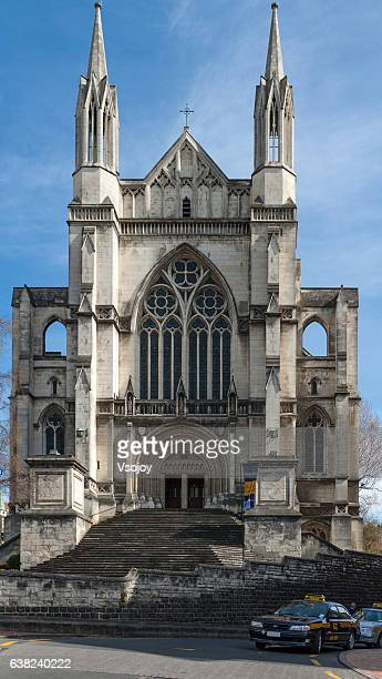 st paul's anglican cathedral exterior building, dunedin, new zealand - vsojoy stock pictures, royalty-free photos & images