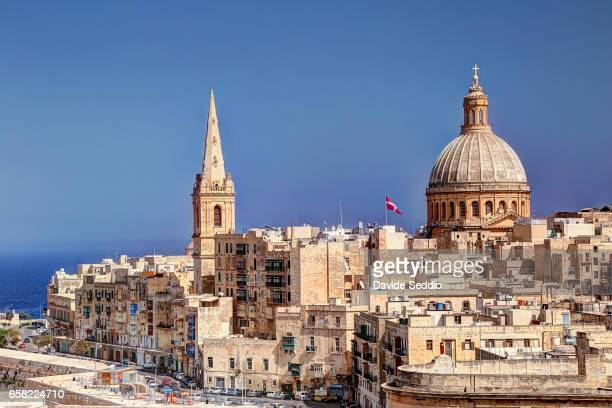 st. paul's anglican pro-cathedral and carmelite church in valletta, malta - valletta stock pictures, royalty-free photos & images